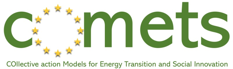 Comets project Logo with symbol and text, green and yellow